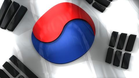 3D flag, South Korean Animation