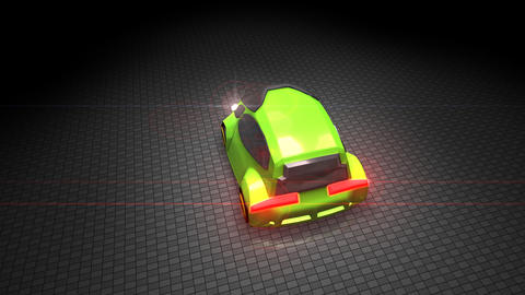 Green electric car Animation