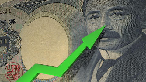 Japanese Yen currency value up animation Animation