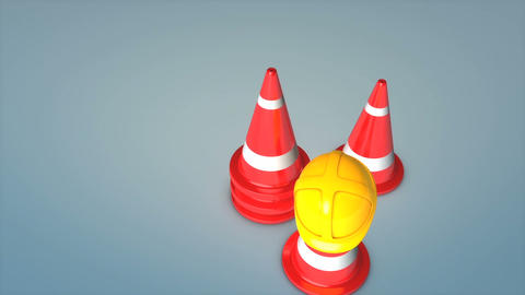 Construction cones and safety hat Animation