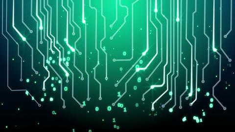 green circuit board and binary symbols loop Animation