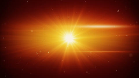 Flying Particles And Orange Light Flares Loop Back stock footage