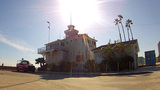 Historical Wooden Lifeguard Station Long Beach, CA stock footage