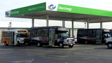 LAX Airport Buses At Natural Gas Filling Station stock footage