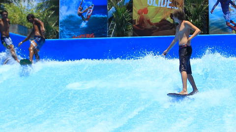 Flow Rider At Surf House stock footage