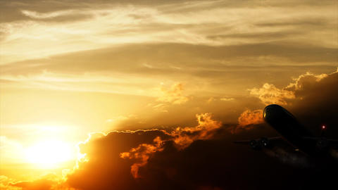 Airplane Sunset stock footage