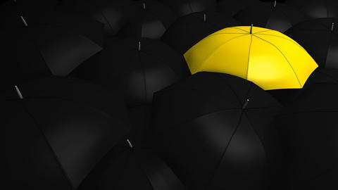 Crowd with umbrella Animation
