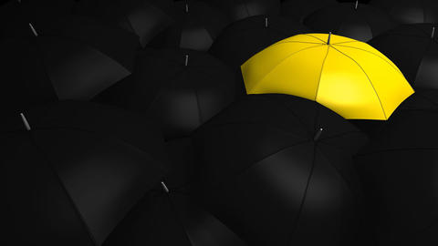 Crowd with umbrella, Stock Animation