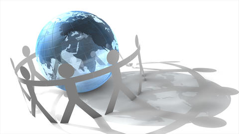 Human cut-out cicrling globe Animation