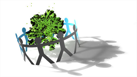 Human figures circling tree Animation