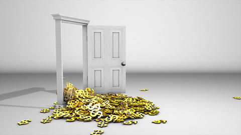 Money pouring from door Animation
