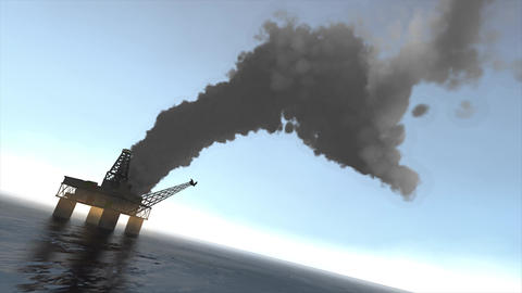 Oil rig fire Animation