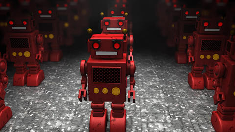 Toy Robot Army stock footage