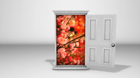 White Door And Flowers stock footage