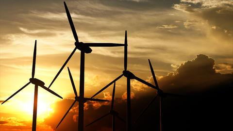 Wind turbine silhouette sunset Stock Video Footage