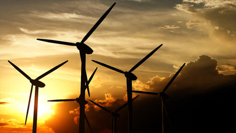 Wind turbine silhouette sunset Animation