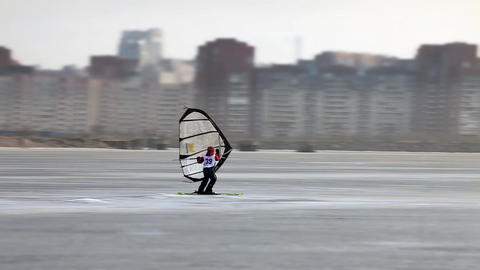 Windsurfing On The Ice stock footage