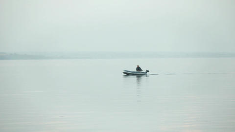 Fishing Boat Morning On The Lake stock footage