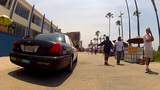 Police Squad Car Patrolling Venice Beach Boardwalk stock footage