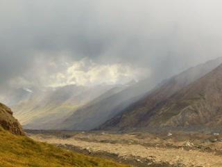 Rain in the mountains. Kirgystan, central Tien Sha Footage