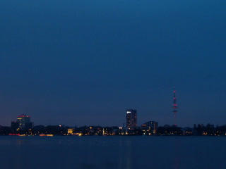 Quay Hamburg. Night fell. Time Lapse. 320x240 Footage