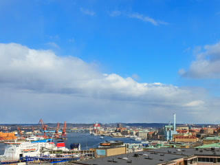 Clouds Over The Port City. Gothenburg, Sweden. Tim stock footage