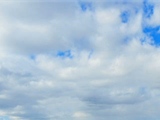 Spring clouds on a blue sky day. Time Lapse. 320x2 Footage
