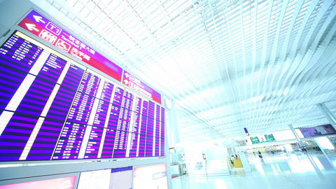 Airport Terminal In Hong Kong. Time Lapse stock footage