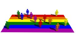 Rainbow Flag With Human Symbols 4K stock footage