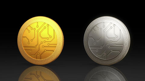 Digital Currency Coin Dark Merge stock footage