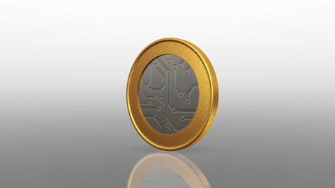 Digital Currency Silver Gold Coin stock footage