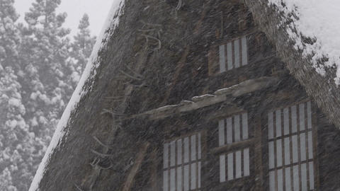 Winter House,Snow Fall,in Toyama,Japan_2 stock footage