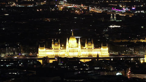 Budapest Hungary by Night Aerial View Timelapse 2 Footage