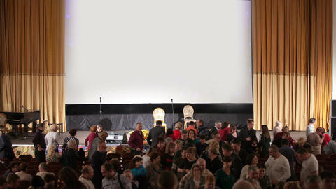 Audience Leaving The Auditorium stock footage