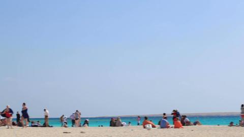 People on the beach Footage