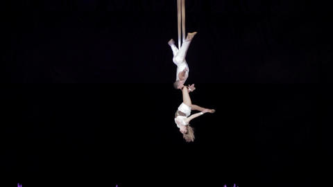 Perfomance of aerial acrobats Footage