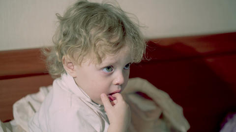 Adorable Thoughtful Little Child stock footage
