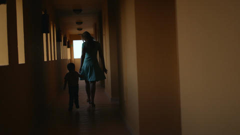 Mother And Son In Hotel Hall stock footage