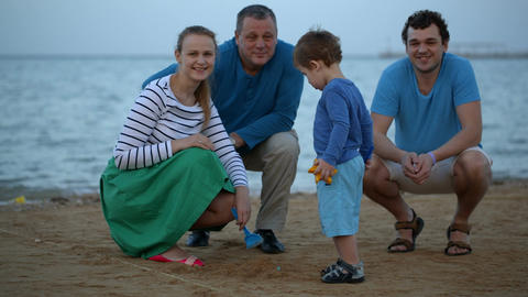 Happy family at the seaside Footage