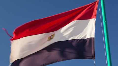 Egyptian flag fluttering in the wind Footage
