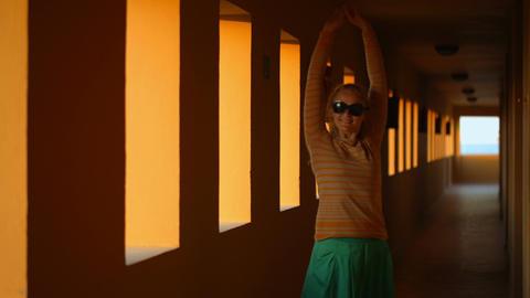 Dancing In Hotel Corridor stock footage