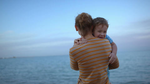 Sweet Family By The Sea stock footage