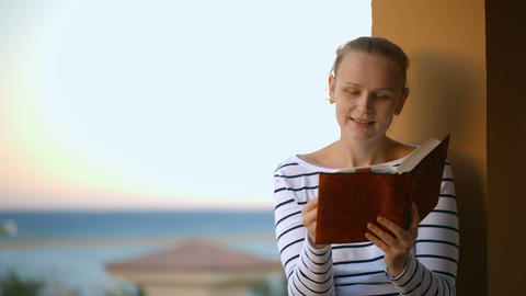 Woman reading a book Footage