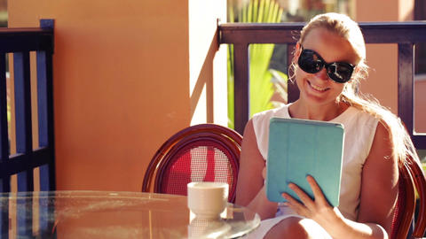 Woman With A Pad On A Cafe Terrace stock footage