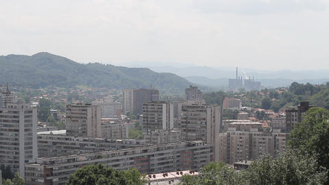 Tuzla, Bosnia And Herzegovina, Panoramic View stock footage