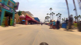 Fast Riding Bicycle On Venice Beach Boardwalk stock footage