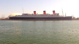 View From Tour Boat Passing Queen Mary Ship stock footage