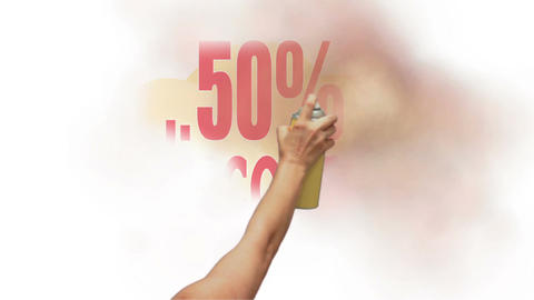 50 Percent Discount Spray Painted, Stock Animation