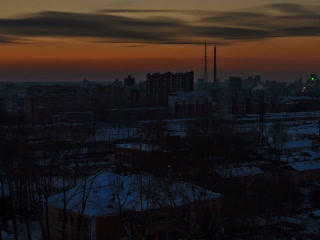 From day to night. City wakes up. Time Lapse. 320x Footage