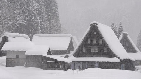 Snow Falling On The Winter House,in Toyama,Japan stock footage